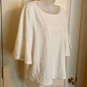 CeCe Tops - Ivory White Top CeCe Textured  Bell Sleeve  NWT